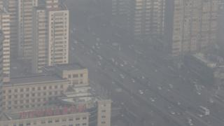 Smog seen from a tourist tower in Beijing - 28 November