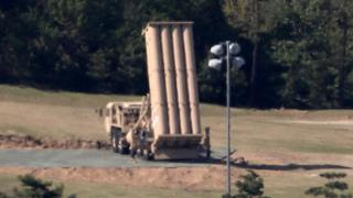 A Terminal High Altitude Area Defense (THAAD) launcher sits at a golf course in Seongju, some 300km southeast of Seoul, South Korea, 1 May 2017 (reissued 2 May 2017)