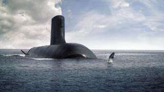 Artists impression of the Shortfin Barracuda submarine and a dolphin