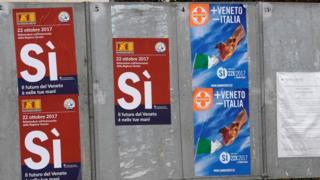 """Yes"" posters in Salzano, the Veneto, 20 October"