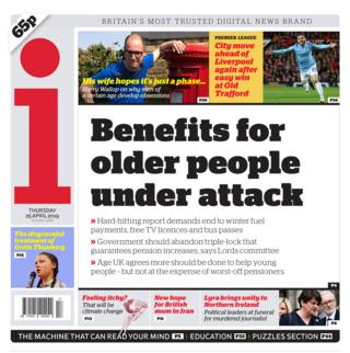 Newspaper headlines: Scrap 'pensioner perks' and secret talks leak