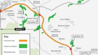 new correct map Planned A358 route