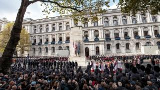 Prince of Wales, senior politicians - including Prime Minister Theresa May - and representatives from the armed forces gathered around the Cenotaph in London to pay their respects in 2017.