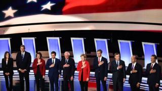 Debate stage in Detroit