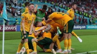 Wales celebrate goal