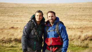 Bear Grylls and Gareth Southgate on moorland