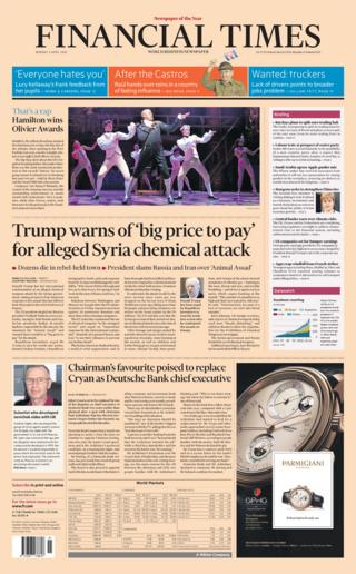 Financial Times front page - 09/04/18