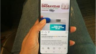 """Imagem mostra tela de celular exibindo post em página de Instagram que vende produto supostamente à base de maca peruana como """"kit para engravidar"""""""
