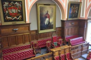 Inside Carmarthen Guildhall