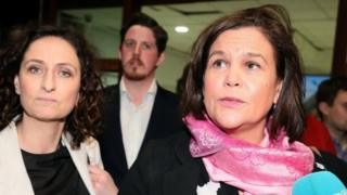 Sinn Féin leader Mary Lou McDonald (right) arriving at the count centre in the RDS in Dublin with party candidate Lynn Boylan