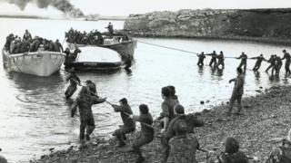 British troops during the Falklands War