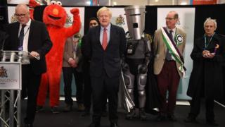 Boris Johnson at his election count
