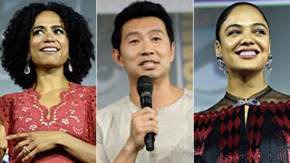 Lauren Ridloff, Simu Liu and Tessa Thompson