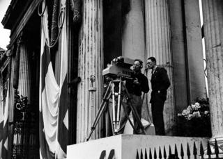 Emitron Camera being used - Mobile Television Unit at Apsley Gate, Hyde Park Corner, For Coronation Procession, May 1937.