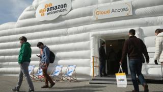 Amazon promoting its cloud services at a trade fair in Germany