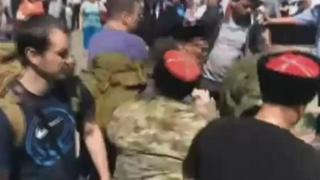 Нападение казаков на Навального