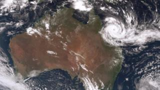 A satellite image of Cyclone Debbie off the Australian coast