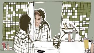 Ілюстрація, чоловік дивиться у дзеркало і бачить Джорджа Клуні