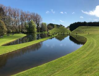 Portrack Cosmic Gardens' open day, near Dumfries. Beautiful weather & views. Mark Kerr says his family are up on spiral mound somewhere.