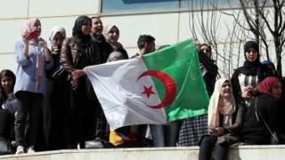 Algerian protesters hold up a national flag
