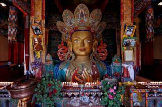 A Maitreya Buddha is seen at Thiskey Monastery near the town of Leh in Ladakh, India