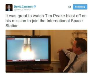 @David_Cameron tweets: It was great to watch Tim Peake blast off on his mission to join the International Space Station.
