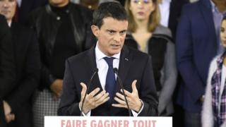French Prime Minister Manuel Valls delivers a speech to announce his bid to become the Socialist presidential candidate in the 2017 presidential elections, at the town hall of Evry