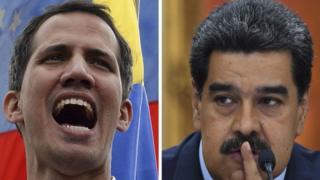 Juan Guaidó (esquerda) e Nicolás Maduro (direita)