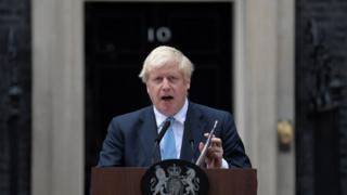 Prime Minister Boris Johnson speaking outside No 10 on Monday