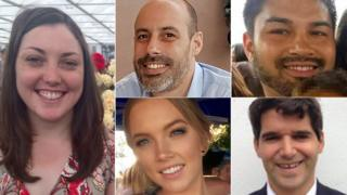 (clockwise from top left) Kirsty Boden, Sebastien Belanger, James McMullan, Ignacio Echeverria and Sara Zelenak