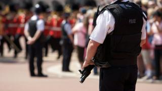 A picture of armed police in London