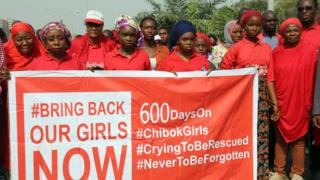 Members of the 'Bring Back Our Girls' movement march to press for the release of the missing Chibok schoolgirls kidnapped in 2014