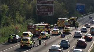 3 vehicle crash on M4 near Miskin