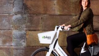 Woman on an e-bike