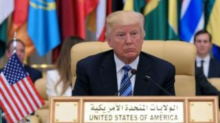 US President Donald Trump is seated during the Arab Islamic American Summit at the King Abdulaziz Conference Center in Riyadh in 2017