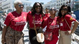 Liverpool fans at the Puerta del Sol square in Madrid on the eve of the UEFA Champions League final football match