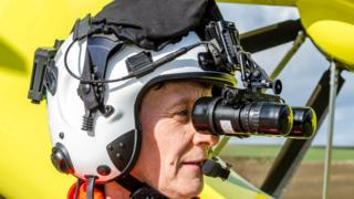 Yorkshire Air Ambulance crew member wearing NVIS goggles