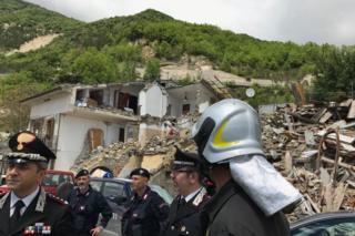 Italian emergency services in Pescara del Tronto, Italy, 25 May 2017