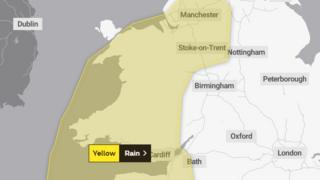 Weather warning map of Wales
