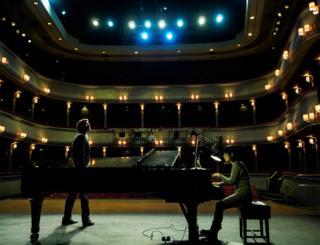 Simon Grange on stage for the student auditions for Britten's Albert Herring.