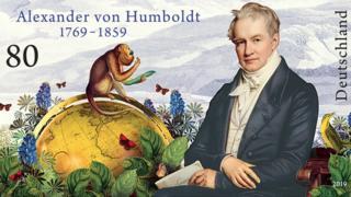 Sello postal del gobierno alemán por el 250° aniversario del nacimiento de Alexander von Humboldt