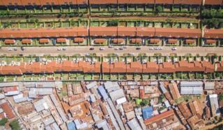 Aerial shot of contrasting rich and poor neighbourhoods in Nairobi, Kenya.