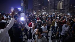 Protesters in Tahrir Square in Cairo following corruption allegations against President Fatah al-Sisi