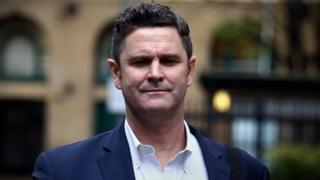 Chris Cairns outside court on 24 November