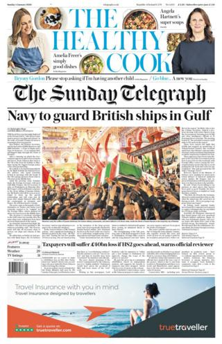 Sunday Telegraph front page 5 January 2020