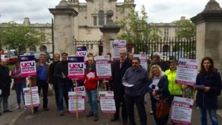 Members of Cardiff UCU on strike