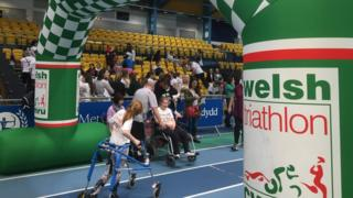 Children gearing up for the triathlon