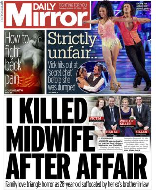 Daily Mirror front page - 23/10/18