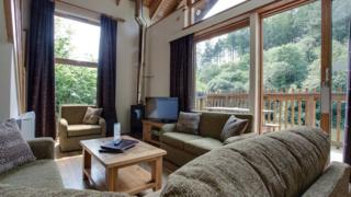 A cabin interior at Forest Holidays' site in Deerpark, Cornwall