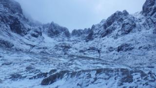 Fresh snow in Coire na Ciste, Ben Nevis